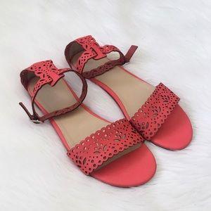 J. Crew Neon Pink Laser Cut Floral Sandals Shoes